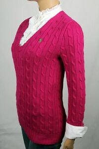 Ralph Lauren Pink Cable Knit V-neck Sweater Green Pony NWT