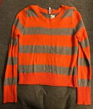 Aeropostale Orange Silver Glitter Stripe Women's Sweater XL NWT