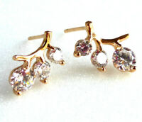 Olive Leaf Climber Small Stud Earrings 18K Yellow Gold Plated Simulated Diamond