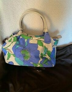 Kate Spade New York Linen Leather Floral handbag + dustbag Blues bottom studs