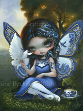 Jasmine Becket-Griffith art print SIGNED Blue Willow Fairy porcelain wings