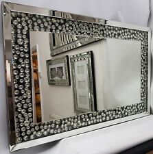 Sparkly Silver Large Wall Mirror Diamond Floating Crystal Design Black 60x90cm