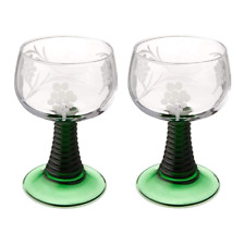 2pc Glass Rhein Roemer with Grape Pattern Vintage Etched Wine Glass