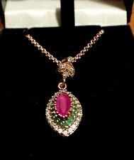 Rose Gold on Sterling Silver Simulated Ruby, Emerald & CZ & on Silver Gilt Chain