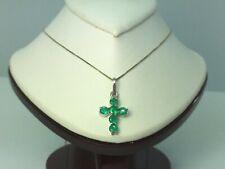 Fine 1.00 ct. Colombian Emeralds Cross Pendant 18k W.G