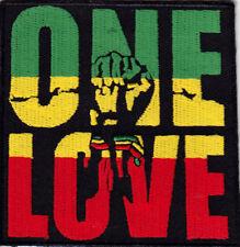 ONE LOVE Iron On Patch Jamacia Rasta Reggae Jamaican Biker