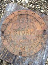 Village Of Arlington Heights Storm Manhole Lid, Raised Letters, Rust Patina