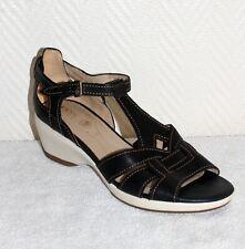 Tolle GEOX Damen Leder Sandalen * Gr. 39 * Glattleder * Schwarz * Fußbett