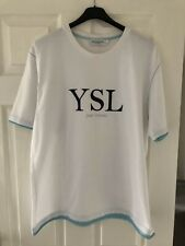 Yves Saint Laurent Vintage 90's T Shirt Big Logo Spell Out Size XXL Retro YSL