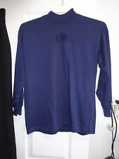 STRATOSPHERE Ladies Navy Blue Mock Turtleneck Top Blouse Cotton Polyester
