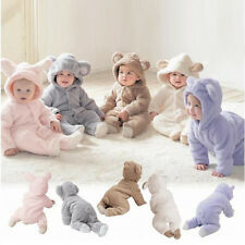 Easter Baby Girl Boy Fleece Playsuit Bunny Animal Suit Outfit 3 6 9 12m