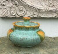 Art Déco Keksdose Keramik Uran Laufglasur Orange Bleu Grün Zuckerdose Majolika