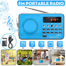 More details for mini portable fm radio usb tf lcd digital mp3 player speaker aux rechargeable uk