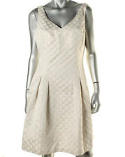 NEW Womens Lauren Ralph Lauren Ivory Gold Metallic Jacquard Cocktail Dress AU16