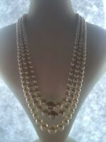 1950s Style Necklace Triple Strand Vintage Faux Pearl Beaded Jewellery Jewelry