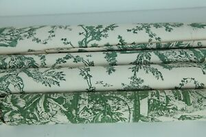 """Vintage Mid Century Toile Wallpaper Remnants Green 27"""" Wide Country Provincial"""