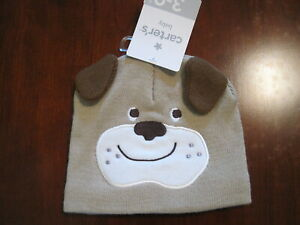 New NWT Carters Boys Tan Puppy Dog Lined Sweater Knit Hat Size 0-3 months