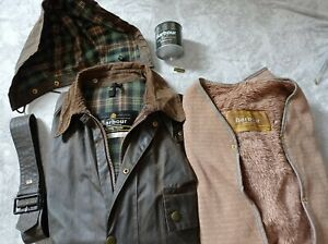 Barbour solway zipper wax jacket and liner 1 royal crest  chest 40