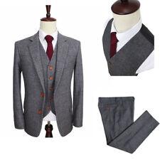 Men's Classic Wool Blend Herringbone Tweed Check Dark Gray Striped Blazer Custom