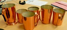 6 x copper plated cups / tankards one marked KITWE Zambia different sizes