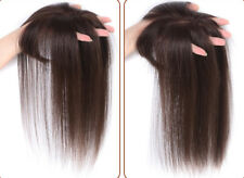 Clip in 100% Human Hair Mono Base Topper Toupee Piece Straight Hairpiece Bangs