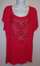 ASHLEY STEWART*Knit Top*Plus Size 18/20*RED Cap sleeve Metal/Diamonds EUC