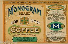 TIN CAN LABEL VINTAGE COFFEE CHARLESTON ADVERTISING 1920S GENERAL STORE GENUINE