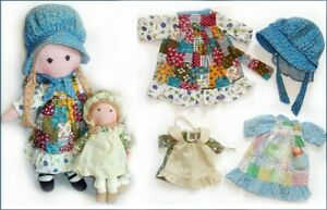 "Vintage 16"" HOLLY HOBBIE & 9"" AMY  2 Dolls & extra CLOTHES LOT Knickerbocker"