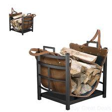 Fireplace Log Bin Firewood Holder Wood Storage Rack Leather Carrier Tote Steel