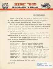 Officical Press Release Detroit Tigers 1969