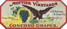 "RARE OLD ORIGINAL 1910 ""MOTTIER VINEYARD"" GRAPE LABEL NORTH EAST PENNSYLVANIA"