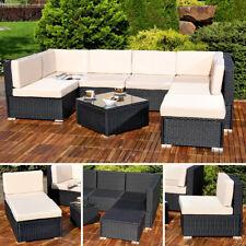 XXL Poly Rattan Sitzgruppe Tisch Lounge Gartenset schwarz Garten Garnitur Home