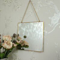 Square gold edged wall mirror shabby vintage chic bathroom bedroom vanity
