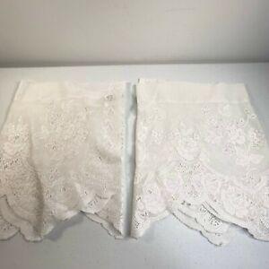 vintage curtain pair white floral scalloped trim 15hx52w rod pocket classic lace