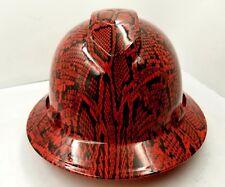 FULL BRIM Hard Hat custom hydro dipped , NEW red Snakeskin extreme snake