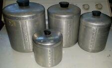 VINTAGE BRUSHED SPUN ALUMINUM CANISTER SET OF 4  COFFEE SUGAR FLOUR GREASE
