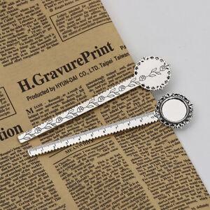 3 Blank Bookmarks - 13cm - Ruler & 20mm Cabochon -Antique Silver Tone - J108852C