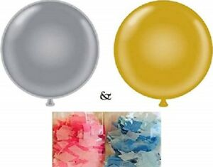 XL Gender Reveal Party Balloon Pop Pink & Blue Confetti He or She Gold Silver