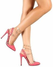 Liliana Coral Suede Pointy toe Pump Studded High Heels Women's shoes US sz.9