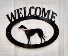 Greyhound Handcrafted Metal Welcome Sign black silhouette Made in the Usa
