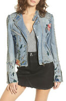 Blank NYC Festival Embroidered Studded Biker Denim Jacket BlankNYC