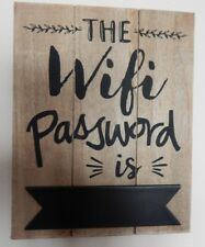 """HANGING WOOD SIGN """"THE WIFI PASSWORD IS"""" CHALKBOARD IDEAL FOR PUBS CAFES B & B"""