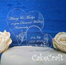 Engraved Personalised Diamond, Gold Wedding Anniversary cake toppers decorations