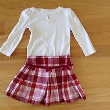 Gymboree Cozy Owl Red Plaid Skirt And Jewel Top, Size 3: EUC