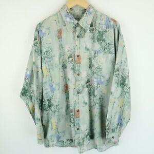 Vintage Mens 90S abstract crazy print festival shirt SIZE XL (E8527)