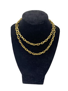 VINTAGE MONET GOLD TONE CHUNKY CHAIN LINK NECKLACE