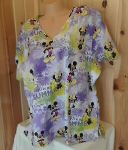 Disney Mickey Minnie Mouse End Less Summer 3X/3G Medical Scrub Top