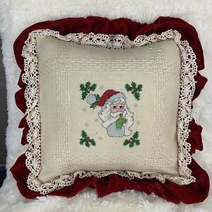 Vintage Handmade Christmas Throw Pillow Cover Burlap Velvet Santa Red Lace Small