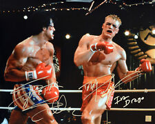Sylvester Stallone & Dolph Lundgren Autographed ROCKY IV 16x20 Photo ASI Proof
