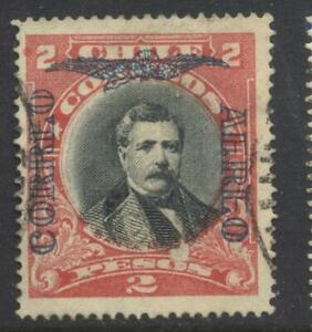 Chile airmail overprint stamp 2 Peso red and black used